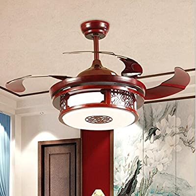 TiptonLight Ceiling Invisible Remote Control Metal Ceiling Light Fan Lamp 42-inch Lighting Fan Chandelier Led Mute Lights Fixture -China Red