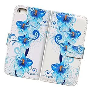 Fabcov New Blue Flower Card Slot Wallet Leather Cover Case For Apple iPhone 5 5G AT&T Verizon Sprint