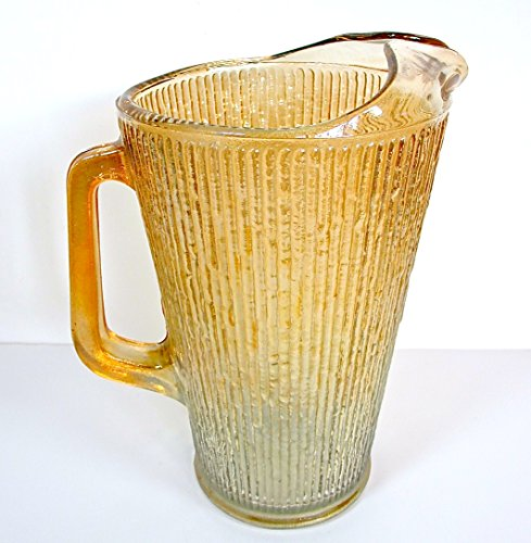 Vintage Carnival Glass Pitcher,vertical Ribbed Lines,spout Handle,gold,#3A