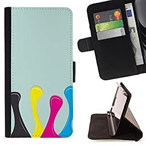 DEVIL CASE - FOR Samsung Galaxy S4 IV I9500 - Design Yellow Pink Blue - Style PU Leather Case Wallet Flip Stand Flap Closure Cover