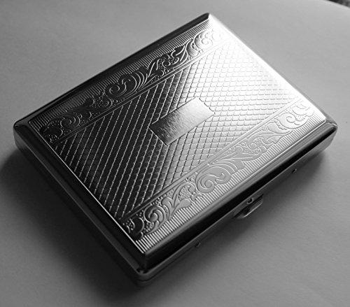Victorian Style Cigarette Case Double Sided King & 100s Linear Pattern By Kasebi