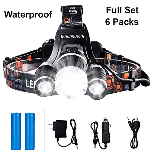 Headlamp 3 Tikka Led (Waterproof Led Headlamp 13000 Lumen Powerful Led Headlight + 2 (18650) Rechargeable Batteries + Wall Charger + USB Charger + Car Charger Perfect for Fishing Hunting Outdoor Activities)