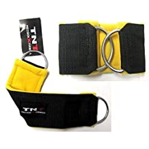 TNT 'DEVIL' Foot/Flex Gym Ankle Strap's FLEECE Padding Sold (1 Pair) Cable Machine Multi-Gym Attachment with Double D-Rings Unisex-adult Workouts Easy hook on for a Fast Quick fit (Yoga, Pilates, Kickboxing,Tae-Kwon-Do, Crossfit) Training Aid (1