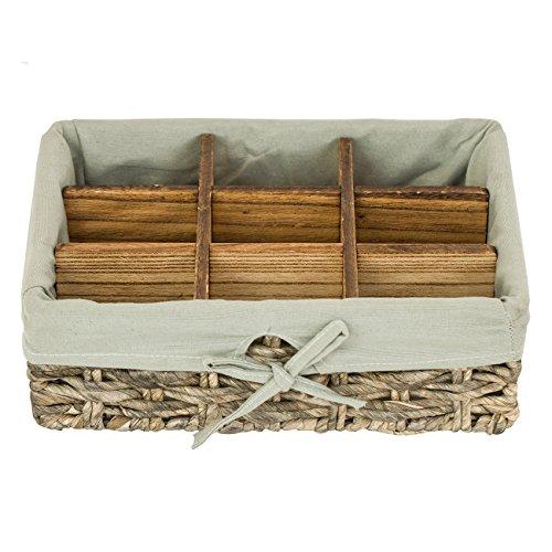 Elimy Rectangular Woven Basket Seagrass Decorative Storage Baskets, Lightweight Box Organizer, Handmade fabric bins, Desktop Box (Grey, 9 Grid, Large) (Set Woven Boxes Rope)