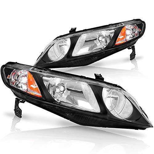 For 2006 2007 2008 2009 2010 2011 Honda Civic 4-Door Sedan Headlight Assembly Headlamp Replacement,Black Housing Amber Reflector(Only for 4-Door)