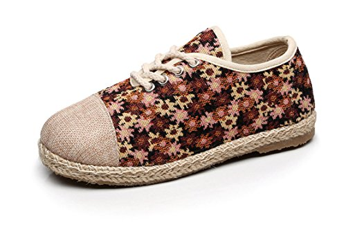 Soojun Womens New Exotic Lace Up Espadrilles Chic Round Toe Flats #1 Coffee jMHqp