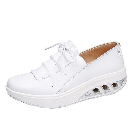 Shoes Sannysis Moda Mujer Colchón de Aire Cabeza Redonda Zapatillas de Deporte de Ocio Respirables Shake Shoes Zapatos Planas Calzado Zapatillas de Cuña ...