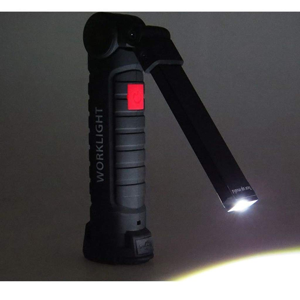 Arbeitslampe LED 2 Taschenlampe lampe,H.eternal 3 Modi Taschenlampen Helligkeit Handlampe Camping Werkstatt lampe USB -Ladekabel Verstellbar lampe f/ür Garage Camping Schwarz 1 Gro/ß Notfall B/üro
