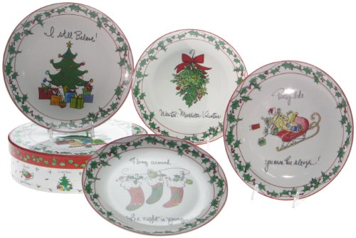 Happy Holidays Set (Happy Holiday 8-Inch Dessert Plates in Hatbox Set of 4)