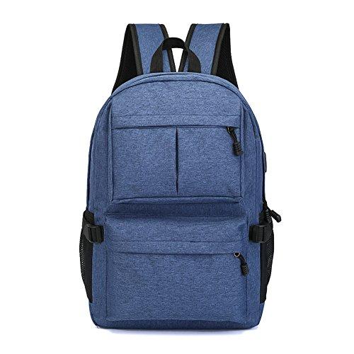 Juuly Mochila resistente al agua mochila de poliéster portátil de 15,6 pulgadas con puerto de carga USB mochila mochila para hombres / mujeres Azul