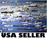 world war 2 aircraft poster - World War 2 aircraft POSTER planes all sides WW II WWII allies and axis aircraft airplane airplanes (poster sent from USA in PVC pipe)
