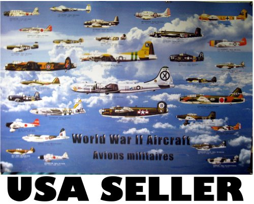 World War 2 aircraft POSTER planes all sides WW II WWII allies and axis aircraft airplane airplanes (poster sent from USA in PVC ()