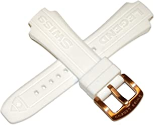 Swiss Legend 17MM White Silicone Rubber Watch Strap & Rose Gold Stainless Buckle fits 40mm Neptune
