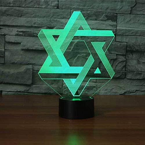 HIOJDWA Night Light 3D Star of David Modelling Night Light Led 7 Colors Mood Table Lamp USB Bedroom Bedside Sleep Light Fixture Home Decor Kids Gifts