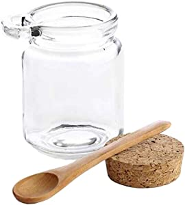1PCS 250ml Empty Clear Durable Glass Food Storage Container Bottle with Cork Stopper and Wooden Spoon Travel Packing Jar for Bath Salt Cosmetic Powder Honey Nuts Suger