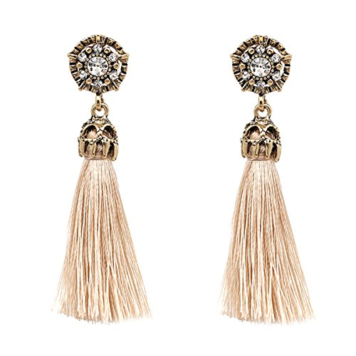 Women Vintage Earring Hollow Crystal Tassel Dangle Stud Earrings (Beige)