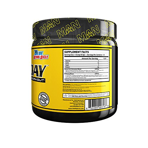 MAN Sports Game Day High Intensity Pre-Workout Supplement, Blue Bomb-Sicle, 255 Gram