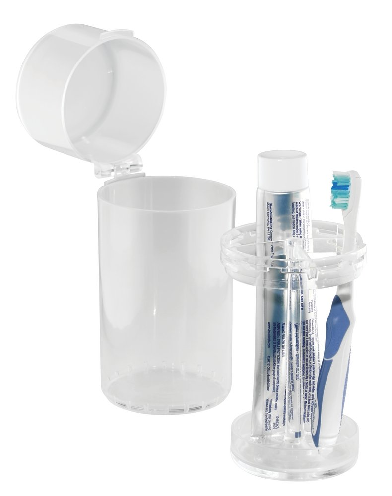 mDesign Dental Center Electric Toothbrush and Toothpaste Holder/Case - Clear