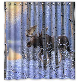 Custom It On The Move Painting Winter Snow Animals Forest Moose Design  Stall Mildew Resistant Waterproof