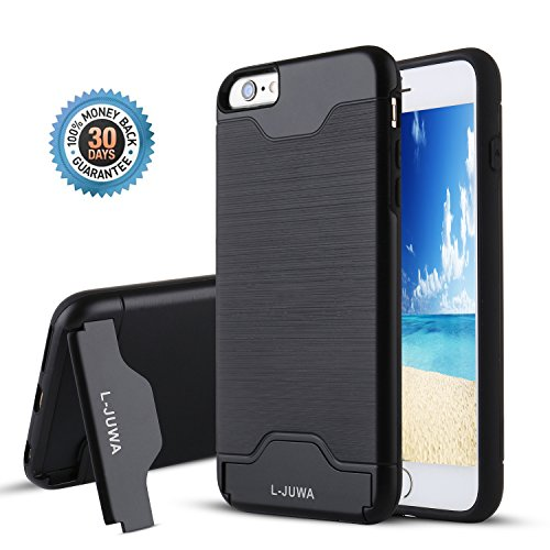 iPhone 6s Case,iPhone 6 Case, L-JUWA [Card Slot Holder][Kickstand] Shockproof Slim Fit Dual Layer Hybrid Protection Case Cover for Apple iPhone 6 /6S (Black)