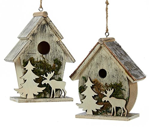 Birdhouses with Moose and Tree Moss Christmas Holiday Ornaments Set of 2
