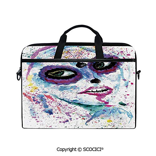 Durable Waterproof Printed Laptop Shoulderr Bag Grunge Halloween Lady with Sugar Skull Make Up Creepy Dead Face Gothic Woman Artsy Computer Briefcases for 15 inch