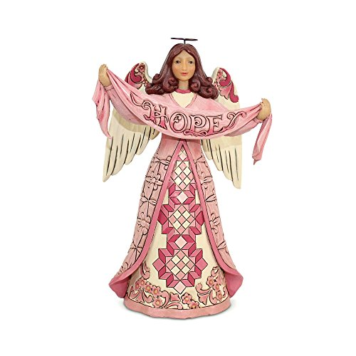 Jim Shore Heartwood Creek Enesco Pink Angel with Hope Banner]()