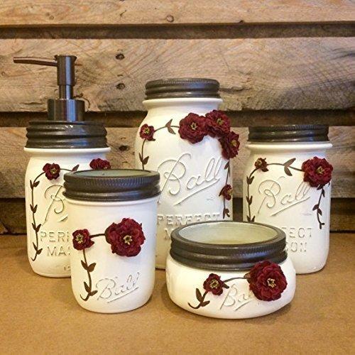 - 5 Piece Ivory and Burgundy Vintage Mason Jar Vanity Set, Shabby Mason Jar Bathroom Set, Mason Jar Desk Set, Vintage Mason Jar decor, Ball Perfect Mason Jars