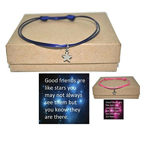 Minimalist stainless steel star sliding knot waxed cord bracelet and good friends note card, assorted colors
