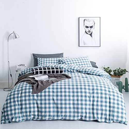 SUSYBAO Gingham Bedding Queen Size Blue and White Checkered Pattern 3 Piece Washed Cotton Duvet Cover Set with Zipper Ties 1 Plaid Duvet Cover 2 Pillowcases Luxury Quality Soft Breathable Comfortable - Asian Queen Size Bed