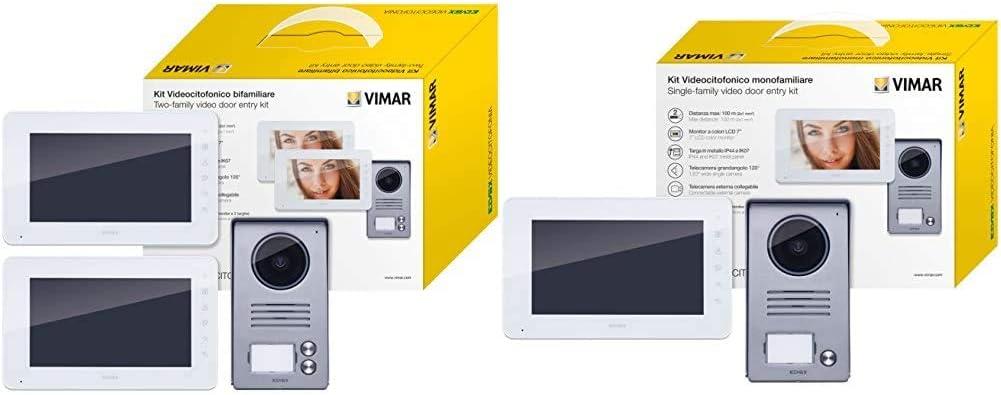 Bianco//Grigio /& K40912 Monitor Supplementare per Kit Videocitofonico con Alimentatore Multispina VIMAR K40911 Kit Videocitofono Bifamiliare con Alimentatori Multispina Bianco