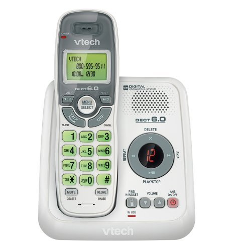 VTech CS6124 DECT 6.0 Cordless Phone with Answering System and Caller ID/Call Waiting, White with 1 Handset ()