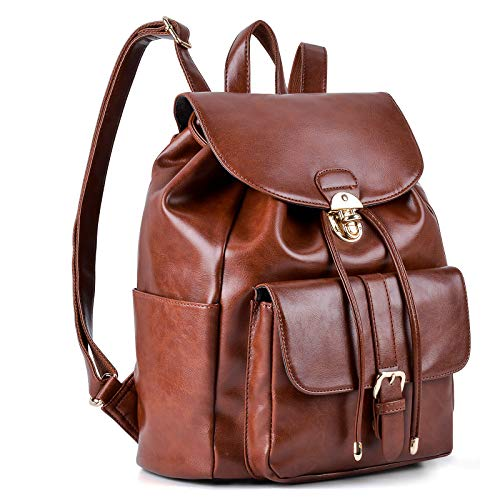 Leather Backpack For Women, COOFIT Black Backpack Purse Womens Backpack Drawstring Backpack Casual Daypack ()