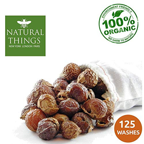 NaturalThings. Organic All Natural Laundry Dishwashing Detergent Soap Nuts Eco Friendly, Premium Grade, Sustainable & Green Laundry (125 Loads). Includes Wash Bag