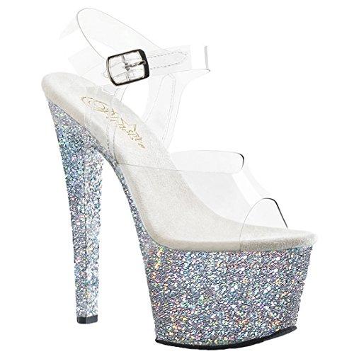 Glitter Slv Talons Pleaser Semelle Multi Et Flamingo 801 Clr Femme Compensée q6vwBx46