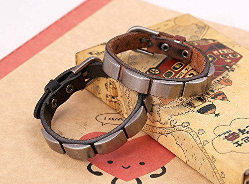 Leather Wrap Bracelet Metal Chunky Mens And Boys Adjustable Length Steel Punk Fashion Style - Shopping Houston District