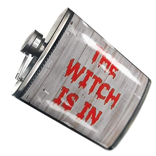 NEONBLOND Flask The Witch Is In Halloween Bloody Wall Hip Flask PU Leather Stainless Steel -