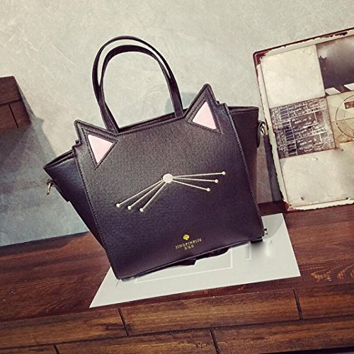Silver for Bag Messenger BESTOPPEN Look Fashion Gift Ladies Large Print Cute Animal Bag Black Lovely Women Shoulder Girls Bag Ear Cat New Womens Travel Handbag Clearance Big Holiday Casual Bag Handbag C41pdqFq