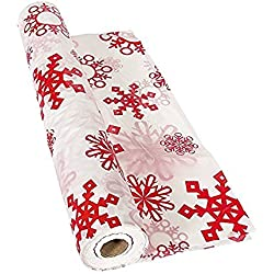 "Red & White Snowflake Tablecloth Roll ( 40"" x 100 ft.) Plastic."