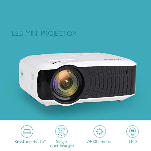 Proyector: Mini, 2400 lúmenes Compatible con Video 1080P HD T4 ...