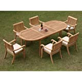 """New 7 Pc Luxurious Grade-A Teak Dining Set - 94"""" Oval Table and 6 Stacking Arbor Arm Chairs #WHDSABb"""