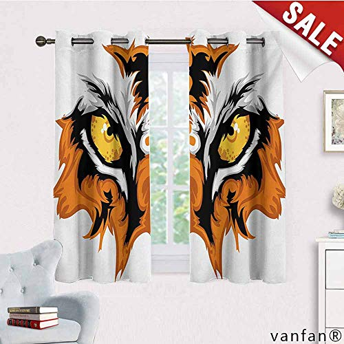 Big datastore 2 Grommet Curtain Panels,Eye,Tiger Eyes Graphic Mascot Animal Face Bengal Cat African Safari Predator Theme,for Living/Bedroom Room/Patio Door,Orange Yellow Black,W63 Xl63