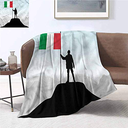 (DILITECK Throw Blanket Italian Flag Silhouette of A Man Warm Blanket W54 xL84 Traveling,Hiking,Camping,Full Queen,TV,Cabin)