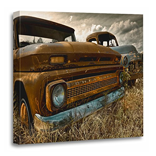 TORASS Canvas Wall Art Print Rust Brothers from Another Rusty Abandoned Vintage Truck Artwork for Home Decor 20