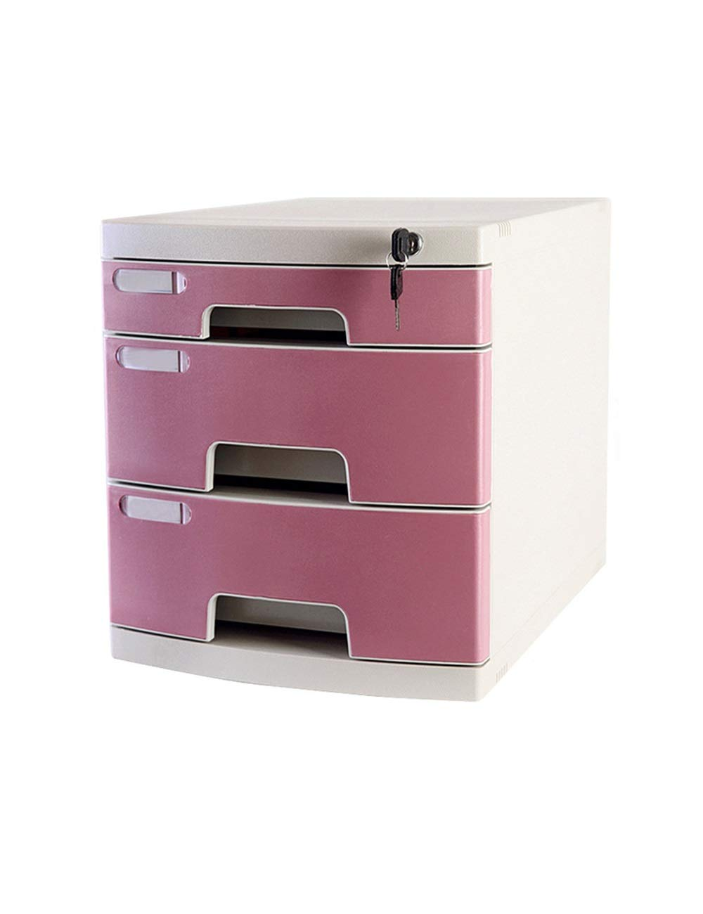 File Cabinet Desktop Cabinet 3 Drawers H325xW394xL295mm Plastic Safety Cabinet File Storage Cabinet Storage Box with Lock Filing cabinets (Color : C)