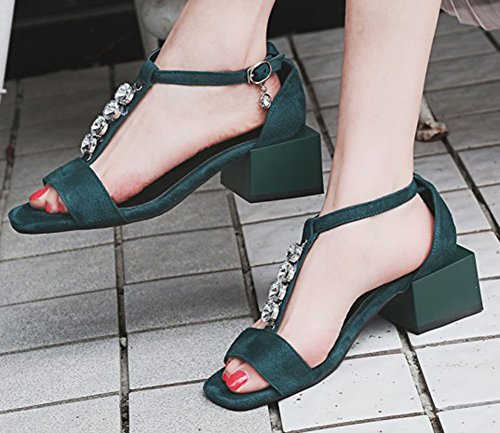 Easemax Womens Mid Chunky Heel Open Toe Faux Suede Pendants Ankle Buckle Strap Sandals With Rhinestones Green gxMIBivK2
