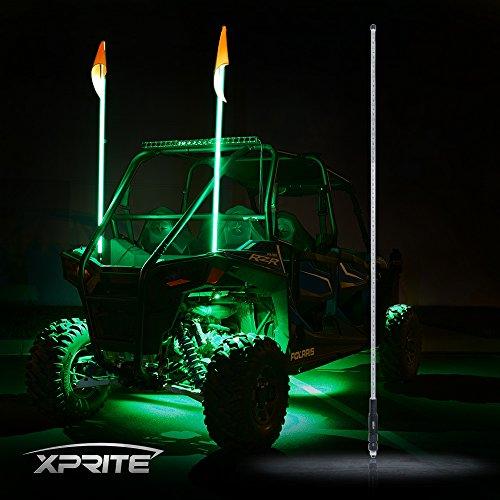 2g Sand (Xprite 2 X 5ft LED Flag Pole Antenna Whip Lights for Offroad Sand Dune Buggy UTV ATV 4X4 Truck Jeep - GREEN)