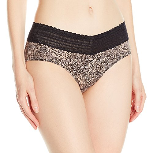 Warner's Women's No Pinching No Problems Lace Hipster Panty, Toasted Almond/Black Swirl Pant, X-Large
