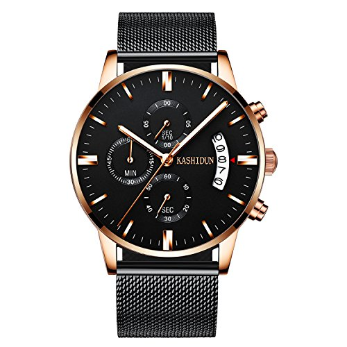 KASHIDUN Men's Watch Casual Quartz Waterproof Luminous Chronograph Alloy Bracelet.TL-SD