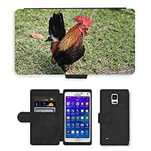 Super Stella Cell Phone Card Slot PU Leather Wallet Case // M00145413 Cock Farmhouse Pets Bird // Samsung Galaxy Note 4 IV